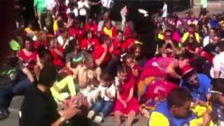 Acto de protesta de las peñas carroceras de Reinosa (San Mateo 2014)