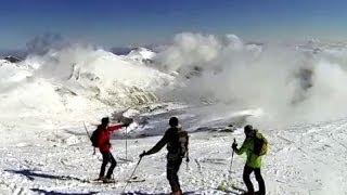 Bajada desde Cuchillón con nieve polvo dura
