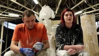 Proceso de elaboración de las carrozas de San Mateo 2017 en Reinosa