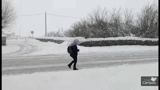 Situación de la A-67 y Matamorosa durante el temporal de Nieve
